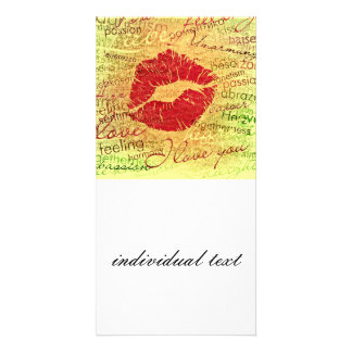 emotional kiss red customized photo card
