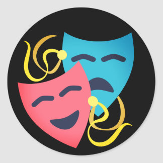 Emotional Masks Classic Round Sticker