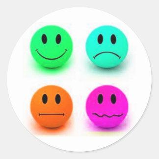 Emotional Smiley Faces Round Sticker