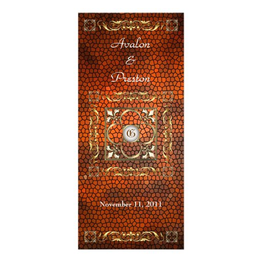 Emperor Amber Stained Glass Wedding Program Customized Rack Card