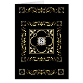 Emperor Black Fleur De Lis Table Card