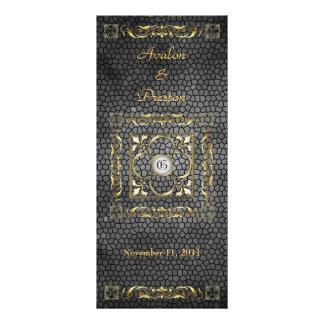 Emperor Black Stained Glass Wedding Program Customized Rack Card