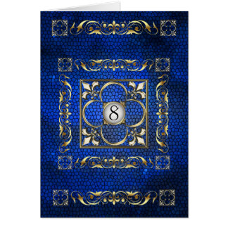 Emperor Blue Fleur Stained Glass Table Card