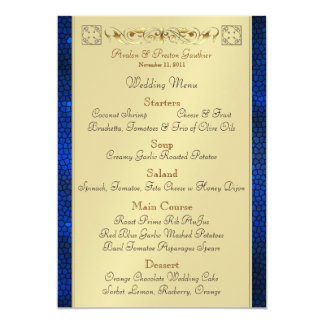 Emperor Blue Scroll Stained Glass Wedding Menu 5x7 Paper Invitation Card