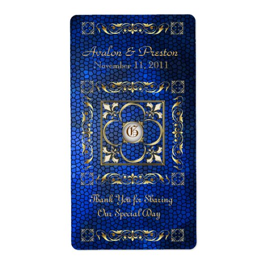 Emperor Blue Stained Glass Wine Wedding Label
