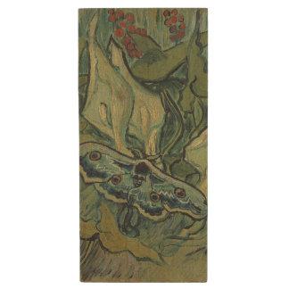 Emperor Moth by Vincent Van Gogh Wood USB 2.0 Flash Drive