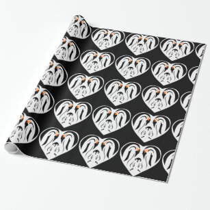 Emperor Penguin Family Love Heart Wrapping Paper
