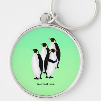 Emperor Penguin Online Line Silver-Colored Round Key Ring