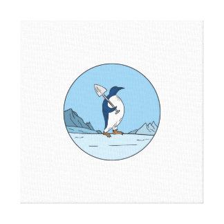 Emperor Penguin Shovel Antartica Circle Mono Line Canvas Print