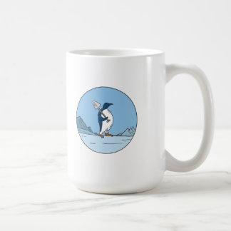 Emperor Penguin Shovel Antartica Circle Mono Line Coffee Mug