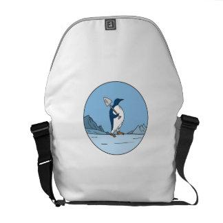 Emperor Penguin Shovel Antartica Circle Mono Line Courier Bag