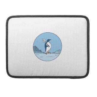 Emperor Penguin Shovel Antartica Circle Mono Line MacBook Pro Sleeve