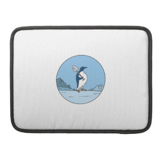 Emperor Penguin Shovel Antartica Circle Mono Line Sleeve For MacBook Pro