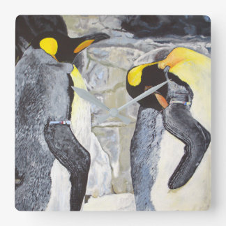 Emperor Penguins on Ice Square Wall Clock