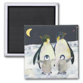 Emperor Penguins Winter Fun Square Magnet