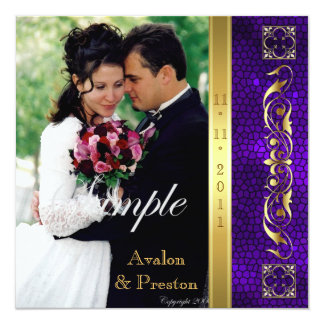 Emperor Purple Stained Glass Photo Invitation