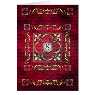 Emperor Red Fleur Stained Glass Table Card