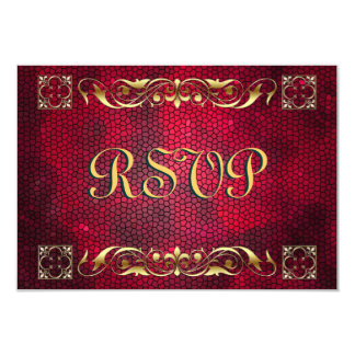 Emperor Red Stained Glass RSVP Card 9 Cm X 13 Cm Invitation Card