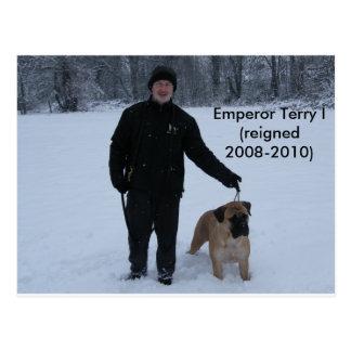 Emperor Terry with Bullmastiff Rose Postcard