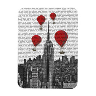 Empire State Building and Red Hot Air Balloons Rectangular Photo Magnet
