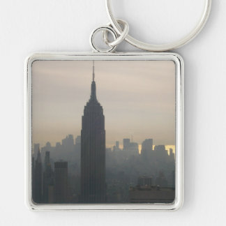 Empire State Building at dusk Silver-Colored Square Key Ring