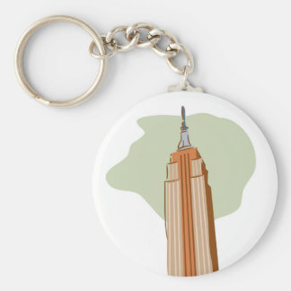 Empire State Building Basic Round Button Key Ring