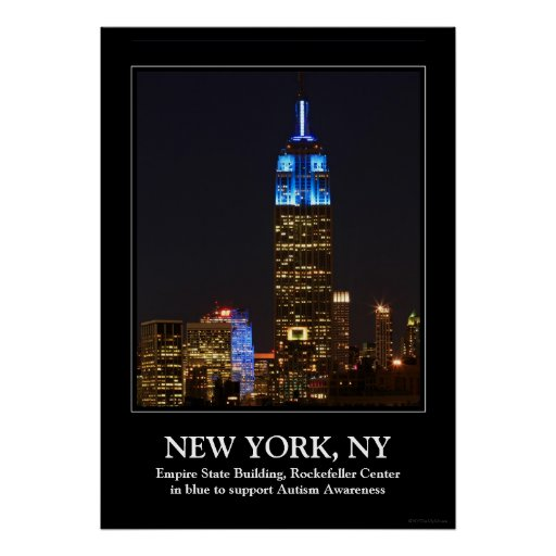 Empire State Building Blue for Autism 2012 Print