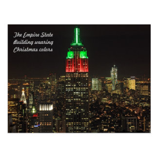 Empire State Building Christmas Colors at night 01 Postcard