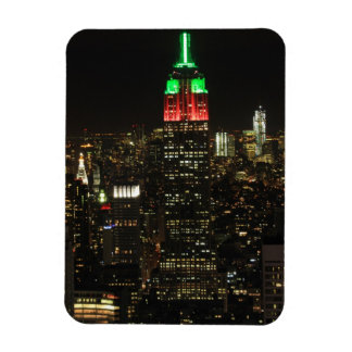 Empire State Building Christmas Colors at night 01 Flexible Magnets