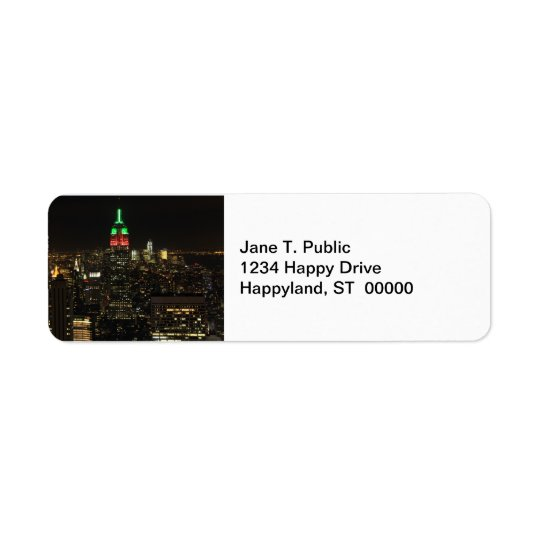 Empire State Building Christmas Colours at night Return Address Label