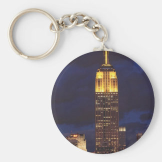 Empire State Building in Yellow, Twilight Sky 01 Basic Round Button Key Ring