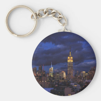 Empire State Building in Yellow, Twilight Sky 02 Basic Round Button Key Ring