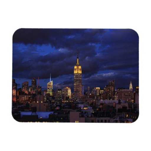 Empire State Building in Yellow, Twilight Sky 02 Vinyl Magnets
