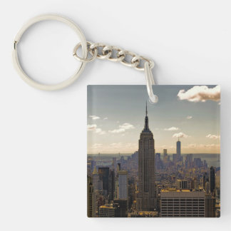 Empire State Building Landscape Single-Sided Square Acrylic Key Ring