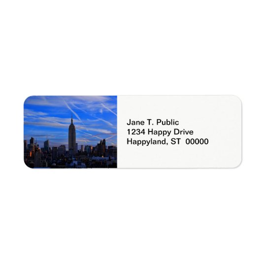 Empire State Building, NYC Skyline and Jet Trails Return Address Label