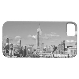 Empire State Building NYC Skyline Puffy Clouds BW iPhone 5 Cases