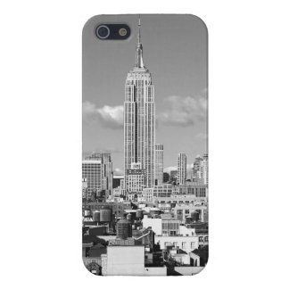 Empire State Building NYC Skyline Puffy Clouds BW iPhone 5 Cover
