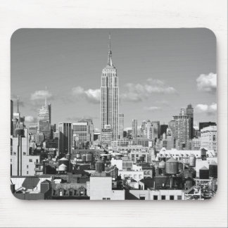 Empire State Building NYC Skyline Puffy Clouds BW Mouse Pad