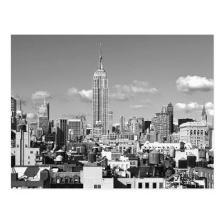 Empire State Building NYC Skyline Puffy Clouds BW Postcard
