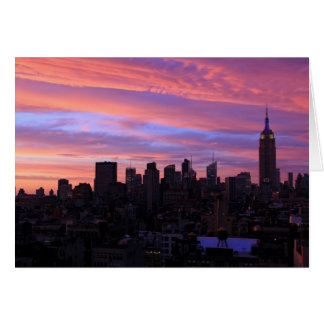 Empire State Building Red White Blue, Pink Sky Card
