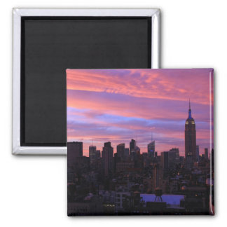 Empire State Building Red White Blue, Pink Sky Square Magnet