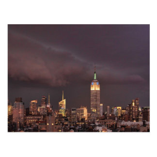 Empire State Building, shark-like cloud approaches Postcard