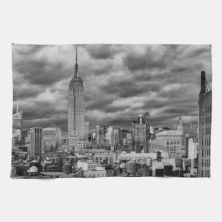 Empire State Building, Stormy NYC skyline, B&W Tea Towel