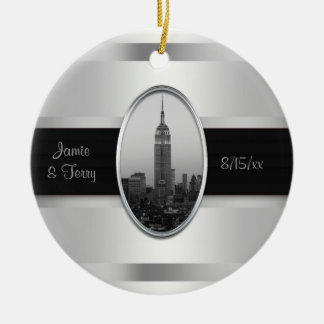 Empire State Building Wedding Invite White Silver Ceramic Ornament