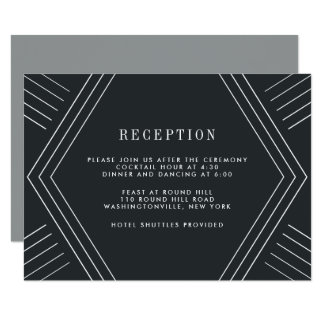Empire Wedding Reception Card | Charcoal