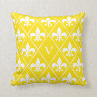 Empire Yellow Fleur de Lis with monogram initial Cushion