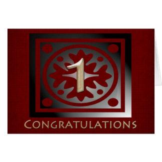 Employee 1 Year Anniversary Elegant Golden Red Card