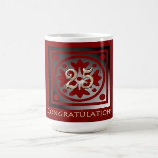 Employee 25th Anniversary Elegant Golden Red Mugs