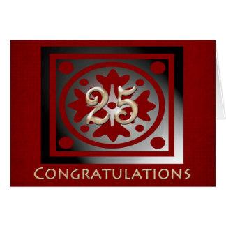 Employee 25th Anniversary Elegant Red Oak Card
