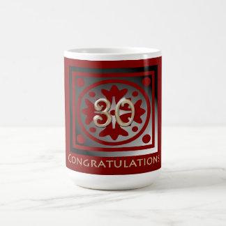 Employee 30th Anniversary Elegant Golden Red Mugs